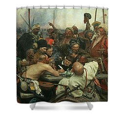 The Zaporozhye Cossacks Writing A Letter To The Turkish Sultan Shower Curtain by Ilya Efimovich Repin
