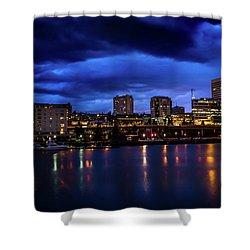 Thea Foss Waterway Storm Brewing Shower Curtain