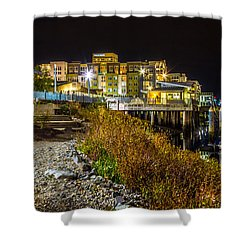 Thea Landing And Marina Lights Shower Curtain by Rob Green