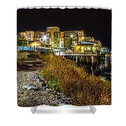 Thea Landing And Marina Lights Shower Curtain
