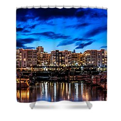 Thea's Landing And Waterfront At Night Shower Curtain by Rob Green