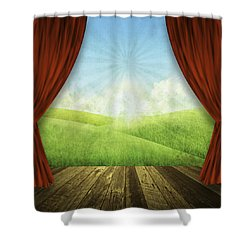 Theater Stage With Red Curtains And Nature Background  Shower Curtain by Setsiri Silapasuwanchai