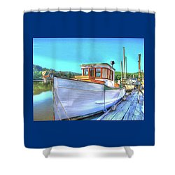 Thee Old Dragger Boat Shower Curtain by Thom Zehrfeld