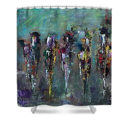 Then Came Seven Horses Shower Curtain