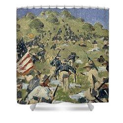 Theodore Roosevelt Taking The Saint Juan Heights Shower Curtain by Vasili Vasilievich Vereshchagin