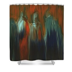 Shower Curtain featuring the painting There Were Four by Jim Vance