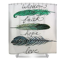 These Feathers Shower Curtain by Elizabeth Robinette Tyndall