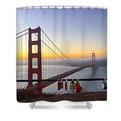 Golden Gate Bridge Padlocks  Shower Curtain by Eugene Evon