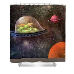 They Took Their World With Them Shower Curtain by Randy Burns