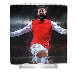 Thierry Henry Shower Curtain by Semih Yurdabak