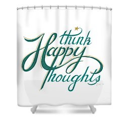 Shower Curtain featuring the drawing Think Happy Thoughts by Cindy Garber Iverson