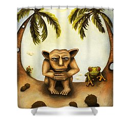 Thinking About Coconuts Shower Curtain by Leah Saulnier The Painting Maniac