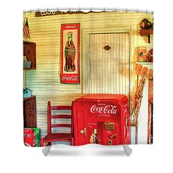 Thirst-quencher Old Coke Machine Shower Curtain