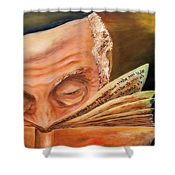 This Book Of The Law Shall Not Depart Out Of Thy Mouth Shower Curtain by Itzhak Richter