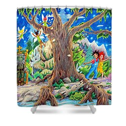 Shower Curtain featuring the painting This Magical Land by Matt Konar