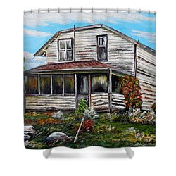 Shower Curtain featuring the painting This Old House 2 by Marilyn  McNish