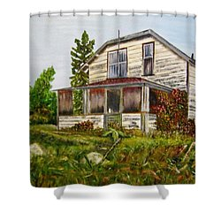 Shower Curtain featuring the painting This Old House by Marilyn  McNish