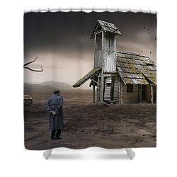 Shower Curtain featuring the mixed media This Old House by Marvin Blaine