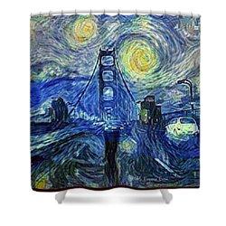 Starry Night At The Golden Gate Bridge Shower Curtain