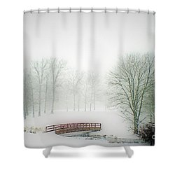 This Small Bridge, Located On A Golf Course, Always Provides A Scenic View. When A December Blizzard Shower Curtain