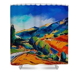 This Way To Heaven Shower Curtain by Elise Palmigiani