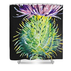Shower Curtain featuring the painting Thistle by Saundra Johnson