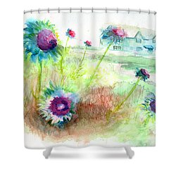 Shower Curtain featuring the painting Thistles #1 by Andrew Gillette