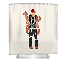 Shower Curtain featuring the digital art Thom Yorke Typography Art by Inspirowl Design
