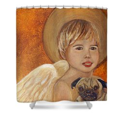 Thomas And Bentley Little Angel Of Friendship Shower Curtain by The Art With A Heart By Charlotte Phillips