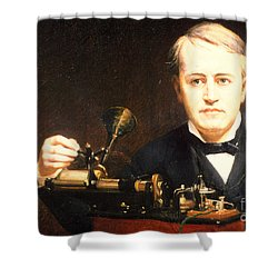 Thomas Edison, American Inventor Shower Curtain by Photo Researchers