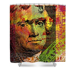 Shower Curtain featuring the digital art Thomas Jefferson - $2 Bill by Jean luc Comperat
