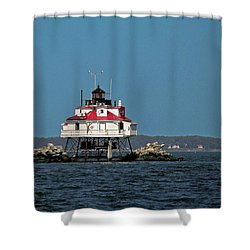 Thomas Point Shoal Light Shower Curtain by Sally Weigand