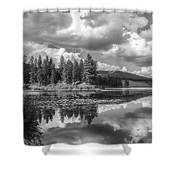 Thompson Lake In Black And White Shower Curtain