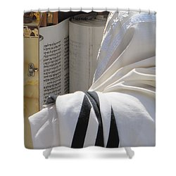 Thora Reading At The Western Wall Shower Curtain by Yoel Koskas