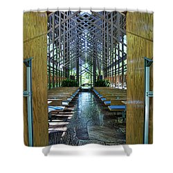 Shower Curtain featuring the photograph Thorncrown Chapel Entrance by Cricket Hackmann