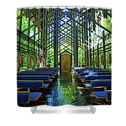 Shower Curtain featuring the photograph Thorncrown Chapel Serenity by Cricket Hackmann