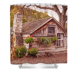 Shower Curtain featuring the photograph Thorp Cabin Door County Wisconsin by Heidi Hermes
