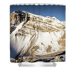 Thorung La Pass In The Annapurna Range In The Himalayas In Nepal Shower Curtain