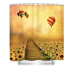 Those Infernal Flying Machines Shower Curtain by Diane Schuster