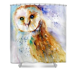 Thoughtful Barn Owl Shower Curtain by Christy Lemp
