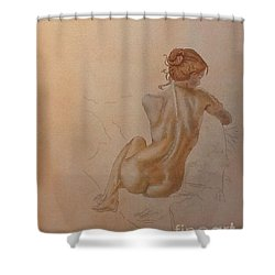 Thoughtful Nude Lady Shower Curtain