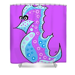 Shower Curtain featuring the painting Thoughts And Colors Series Seahorse by Veronica Minozzi