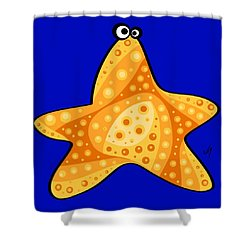 Shower Curtain featuring the painting Thoughts And Colors Series Starfish by Veronica Minozzi