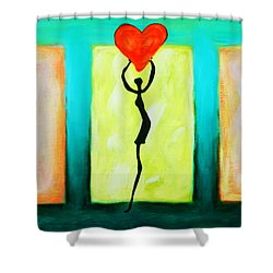 Three Abstract Figures With Hearts Shower Curtain