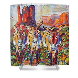 Shower Curtain featuring the painting Three Amigos  by Jenn Cunningham