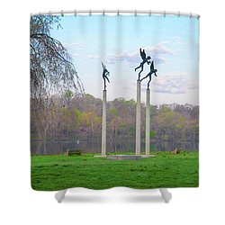 Shower Curtain featuring the photograph Three Angels In Spring - Kelly Drive Philadelphia by Bill Cannon