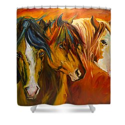 Three At The Fence Line Shower Curtain