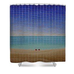 Three Beach Umbrellas Shower Curtain