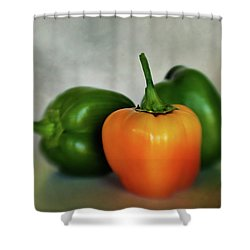 Shower Curtain featuring the photograph Three Bell Peppers by David and Carol Kelly
