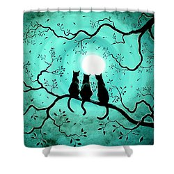 Three Black Cats Under A Full Moon Shower Curtain by Laura Iverson